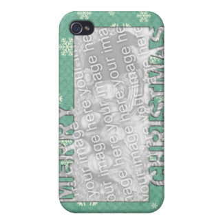 Merry Christmas CutOut Photo Frame Mint Snowflakes Case For iPhone 4