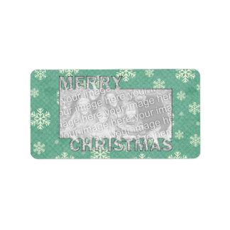 Merry Christmas CutOut Photo Frame Mint Snowflakes Address Label