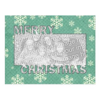 Merry Christmas CutOut Photo Frame Mint Snowflakes Postcard