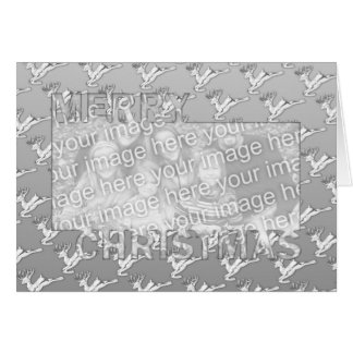 Merry Christmas CutOut Photo Frame Silver Reindeer Greeting Card