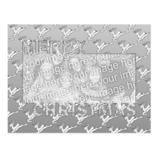 Merry Christmas CutOut Photo Frame Silver Reindeer Postcard