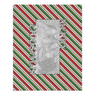 Merry Christmas CutOut PhotoFrame Red Green Stripe Poster