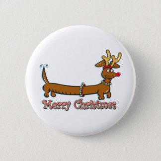 Merry Christmas Dachshund 6 Cm Round Badge