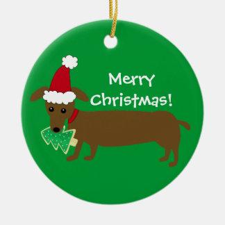 Merry Christmas Dachshund Christmas Ornament