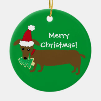 Merry Christmas Dachshund Christmas Ornament