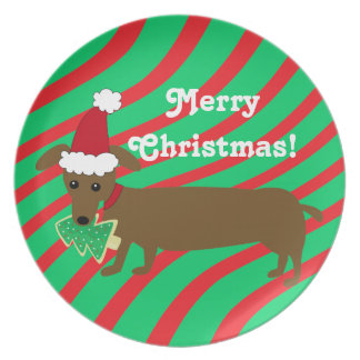 Merry Christmas Dachshund Plate
