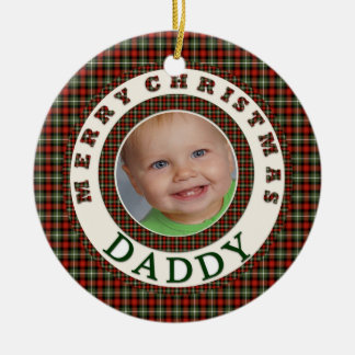 Merry Christmas Daddy Custom Holiday Photo Round Ceramic Decoration