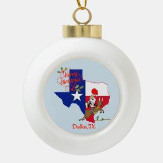 Merry Christmas Dallas Texas Ceramic Ball Christmas Ornament