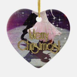 Merry Christmas Dancers Ceramic Heart Decoration