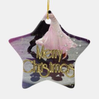 Merry Christmas Dancers Ceramic Star Decoration