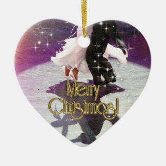 Merry Christmas Dancers Ceramic Heart Decoration