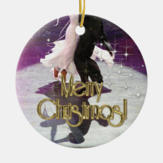 Merry Christmas Dancers Round Ceramic Decoration