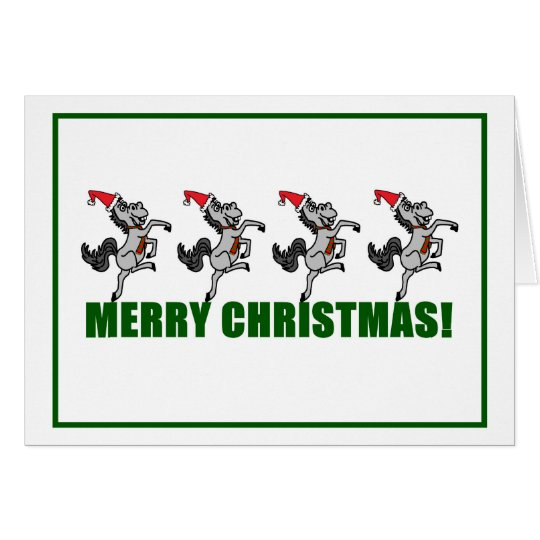 Merry Christmas Dancing Horses Greeting Card