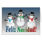 Merry Christmas dancing snowmen - spanish Card