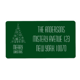 Merry Christmas Dark Green Tree Shipping Label