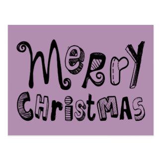 Merry Christmas - dark Text Design Postcard