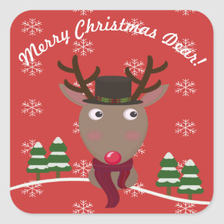 """Merry Christmas Dear"" with Festive Reindeer Square Sticker"