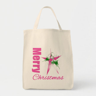 Merry Christmas Decorated Star Canvas Bag