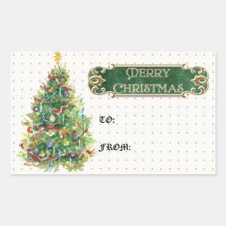 Merry Christmas Decorated Tree Star Gold Swirl Rectangular Sticker