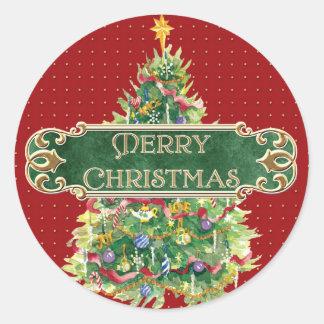 Merry Christmas Decorated Tree Star Gold Swirl Round Sticker
