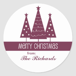 Merry Christmas Decorated Trees Family Greeting Round Sticker