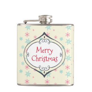 Merry Christmas Decoration Pink & Blue Snowflakes Flask
