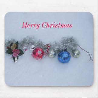 Merry Christmas Decorations in Snow Mouse Pad