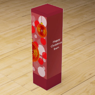 Merry Christmas Deep Red, Gold Decoration Wine Box