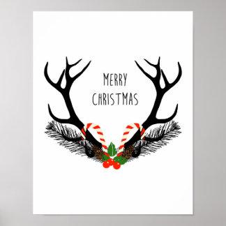 Merry Christmas - Deer Antlers - Poster