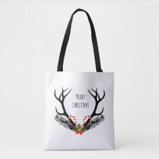 Merry Christmas - Deer Antlers - Totebag Tote Bag