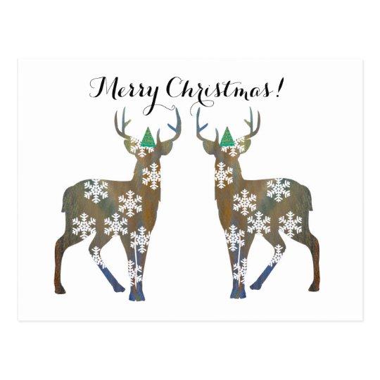 Merry Christmas Deer Postcard
