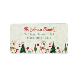 Merry Christmas Deer & Trees | Address Labels