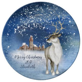 Merry Christmas Deer Winter Xmas Plate