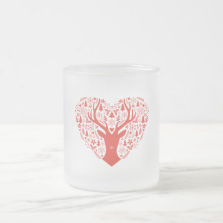 Merry Christmas, deer with red heart Frosted Glass Coffee Mug