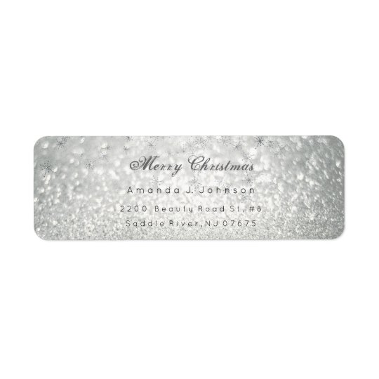 Merry Christmas Delicate Silver Stars Snow Gray Return Address Label