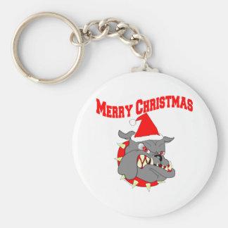 Merry Christmas Devil Dog Basic Round Button Key Ring
