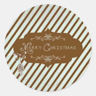Merry Christmas Diagonal Stripe Round Sticker