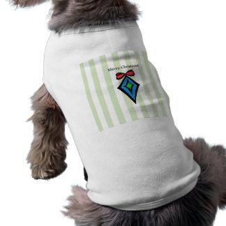 Merry Christmas Diamond Doggie Tank Top Green Sleeveless Dog Shirt