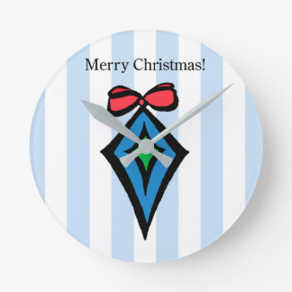 Merry Christmas Diamond Med. Round Wall Clock Blue
