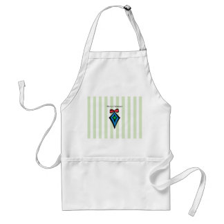 Merry Christmas Diamond Ornament Apron Green