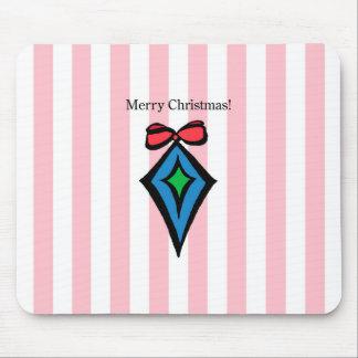 Merry Christmas Diamond Ornament Mousepad Pink