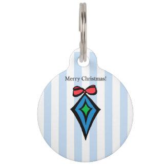 Merry Christmas Diamond Ornament Pet Tag Blue