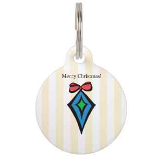 Merry Christmas Diamond Ornament Pet Tag Yellow