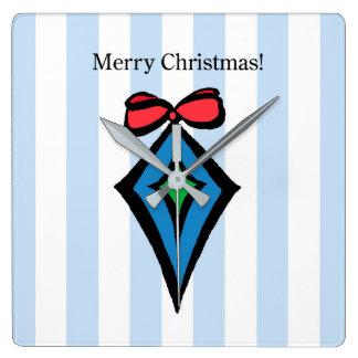 Merry Christmas Diamond Square Clock Blue