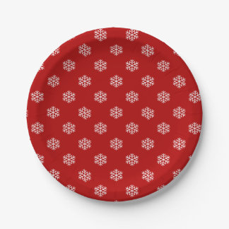 Merry Christmas dinner snow flake paper plate