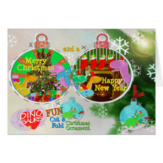 Merry Christmas Dinos Cut & Fold Craft Card