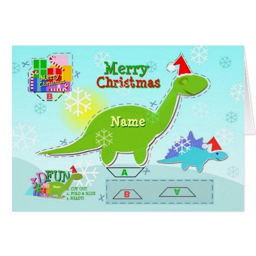 Merry Christmas Dinosaur 3D Cut & Fold Craft Card