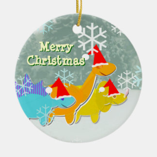 Merry Christmas Dinosaurs Ornament