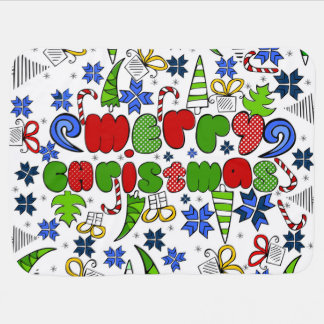 """""""Merry Christmas"""" doodle kid's drawning style Baby Blanket"""