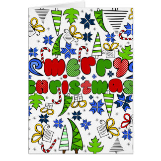 """""""Merry Christmas"""" doodle kid's drawning style Card"""